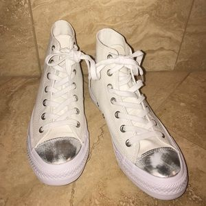 Converse All Star White/Silver High Top Sneakers